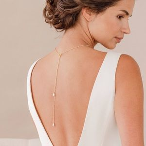 14k Gold Bridal Back Drop Pearl Necklace